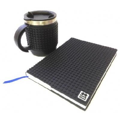 KIT créatif - Bloc note noir + Mug isotherme noir à pixels