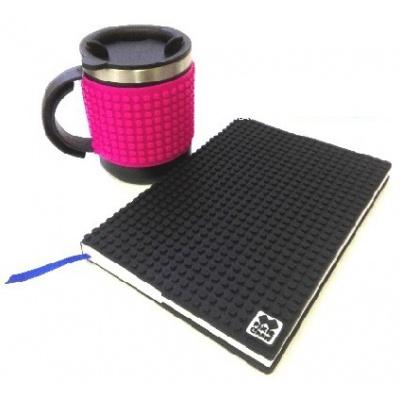 KIT créatif - Bloc note noir + Mug isotherme fushia à pixels