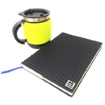 KIT créatif - Bloc note noire + Mug isotherme vert néon à pixels