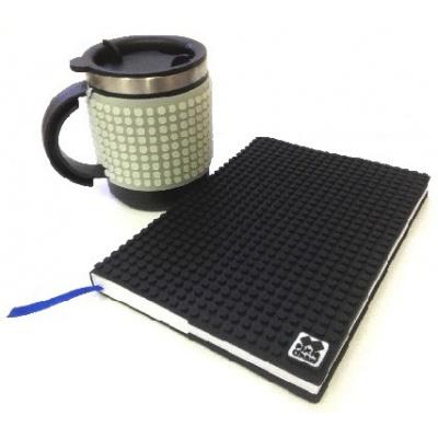 KIT créatif - Bloc note noir + Mug isotherme gris fluorescent à pixels