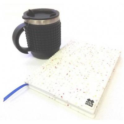 KIT créatif - Bloc note étoiles blanches + Mug isotherme noir à pixels
