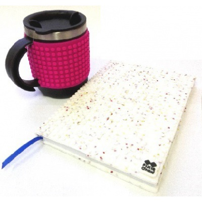 KIT créatif - Bloc note étoiles blanches + Mug isotherme fushia à pixels