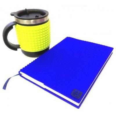 KIT créatif - Bloc note bleu + Mug isotherme vert néon à pixels