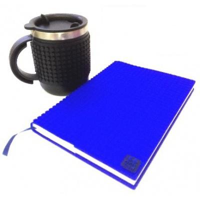KIT créatif - Bloc note bleu + Mug isotherme noir à pixels