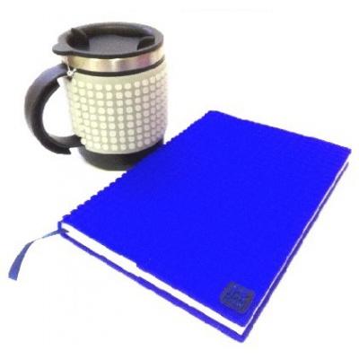 KIT créatif - Bloc note bleu + Mug isotherme gris fluorescent à pixels
