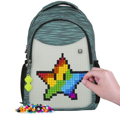 Sac à dos scolaire créatif à Pixel bleu/gris fluorescent PXB-16-02