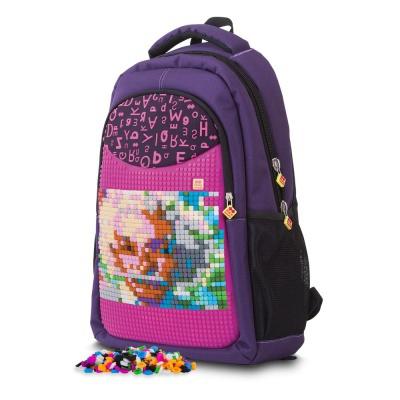 Sac à dos scolaire créatif à Pixel alphabet violet PXB-16