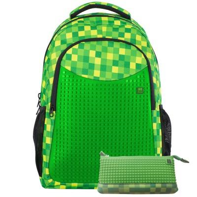 Sac à dos scolaire créatif avec trousse à Pixel Minecraft carré vert PXB-16-08